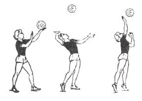 Техника владения мячом в волейболе Подача  При ударном движении правую руку разгибают в локтевом суставе поднимают и маховым движением выносят вверх правое плечо поднимают вверх